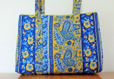 Yellow Blue Stripe Paisley Print Quilted Purse by RoxannasBags on Etsy