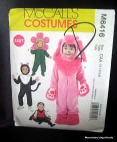 McCall's Costume M6416 Infant Toddler Flower Lion Bunny Sewing Pattern 1 2 3 4 $6.50  http://www.bonanza.com/listings/McCall-s-Costume-M6416-Infant-Toddler-Flower-Lion-Bunny-Sewing-Pattern-1-2-3-4/86158201