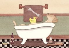 Golden Yellow labrador retriever (lab) fills tub at bath time / Lynch signed folk art print Lynch http://www.amazon.com/dp/B001C7T3EY/ref=cm_sw_r_pi_dp_Q7BGwb0XKQCEH