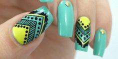 Indian Nails, Beautiful Nail Designs, Nail Artist, My Nails, Nail Polish, Turquoise, Girly Girl, Woman, Creative
