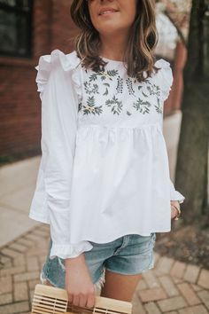 ruffled embroidered