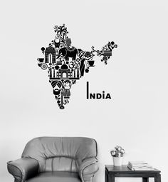 Vinyl Decal India Map Hindu Hinduism Elephant Symbols Decor Wall Stickers (ig2722)