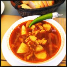 Romanian Pork Goulash. Potatoes, Dumplings, Spicy Broth. Comes with it's own Green Chilli.