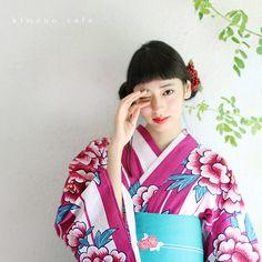 Kyoto Kimono Cafe: Women yukata robe and yukata robe belt 2 sets suiginto and Peony pink - Purchase now to accumulate reedemable points! Japanese Beauty, Japanese Fashion, Japanese Costume, Yukata, 2 Set, Geisha, Traditional Outfits, Peonies, Kimono