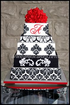 Black, White, Red Damask Wedding Cake