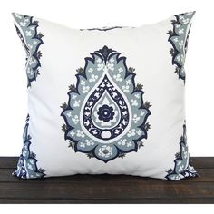 Throw Pillow Cover Vintage Indigo Navy Light Blue Gray White Cushion... ($14) ❤ liked on Polyvore featuring home, home decor, throw pillows, decorative pillows, home & living, home décor, silver, gray throw pillows, indigo throw pillows and navy blue toss pillows