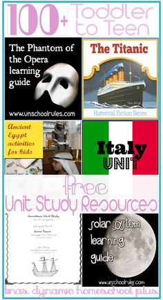 Toddler to Teen 100 Free Unit Study Resources. Unit studies have a way of taking any topic from drab to fab.They can bring life a lifeless topic.