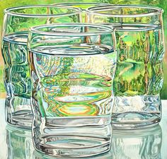 View Skowhegan Water Glasses By Janet Fish; Oil on canvas; Access more artwork lots and estimated & realized auction prices on MutualArt. Painting Still Life, Still Life Art, Art Watercolor, Ap Studio Art, Ap Art, Fish Art, Fish Fish, Anime Comics, Art Studios