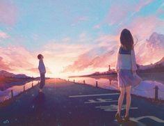 e-shuushuu kawaii and moe anime image board Cute Couple Art, Anime Love Couple, Cute Anime Couples, 2560x1440 Wallpaper, Anime Scenery Wallpaper, Sunset Wallpaper, Love Illustration, Anime Life, Animes Wallpapers