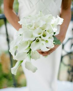 A STUNNING Cascade/Teardrop Bridal Bouquet Of White Calla Lilies & Greenery