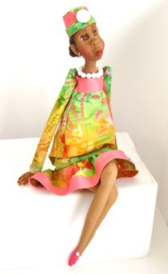 Ooak Art Doll Dressed in Pink and Green