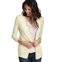 3/4 Sleeve Open Cardigan - Amazingly versatile, this have to have layering piece does wonders for your wardrobe. 3/4 sleeves. Open front. Ribbed placket, cuffs and hem.