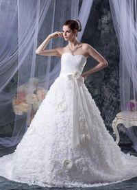 Mouwloze Voorjaar Bruidsjurk met Bow met Sjerp