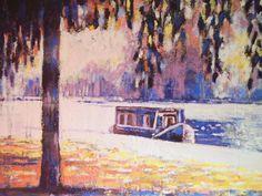 commission, mixed media,canal boat on the river nene canvas art- visit http://www.karenjanegreen.com/apps/webstore/ for similar artwork