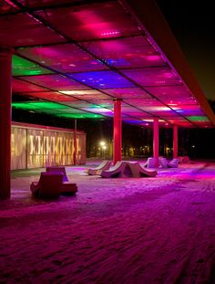"""LED Clouds"" is an amazing light installation created by Sophie Valla Architects, a studio from Amsterdam. ""Sixty textile panels made from the fabrics used in… Amsterdam, Landscape Lighting, Outdoor Lighting, Parque Linear, Under Bridge, Public Realm, Light And Space, New Homes For Sale, Urban Landscape"