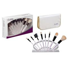 Royal Enhance 8 Piece Cosmetic Brush Set With (White Pouch) It Cosmetics Brushes, Makeup Brushes, Cosmetic Brush Set, Male Grooming, Leather Pouch, Nail Care, White Leather, Fragrance, Make Up