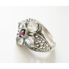 White Topaz and Ruby Cocktail Ring Size 7 Retired QVC 925 Sterling... ($46) ❤ liked on Polyvore featuring jewelry, rings, ruby jewelry, sterling silver cocktail rings, sterling silver jewelry, cocktail rings and sterling silver rings