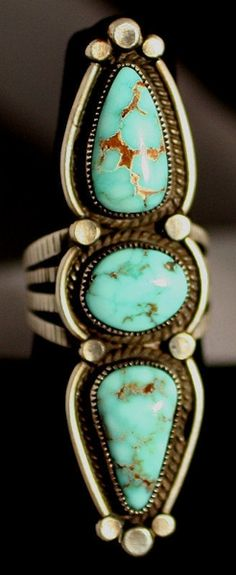Ring | Calvin Martinez (Navjao) . Valley Blue turquoise ring and sterling silver.   circa 1990  | LBV ♥✤ | BeStayBeautiful