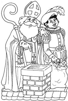 kleurplaat Sinterklaas - In de schoorsteen