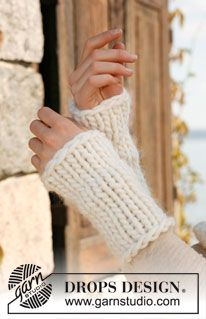 "Knitted DROPS wrist warmers in ""Polaris"". ~ DROPS Design"