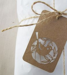 "Add a bit of Skinny laMinx style to your wrapping with these delicate little gift tags! They are laser cut from pattern maker's card, and come in sets of 10. Each card measures 7cm x 4cm (2.75"" x 1.57"")."