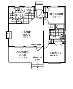 "Floor plan. Replace ""covered deck"" with entry way and utilities room. Replace ""nook"" and ""foyer"" with dining room. ""w/d"" replace with cabinets for bathroom ~900 sq. ft."