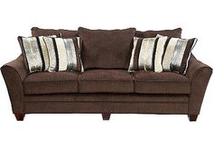 sofa 100 inches (is really a darker brown) We'll need to get better, prettier pillows