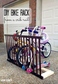 DIY Bike Rack from a Crib Rail! - Here Comes The Sun