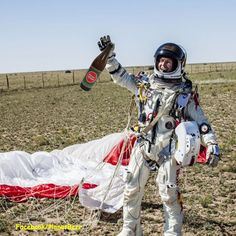 Congratulations to Austrian daredevil Felix Baumgartner on his awesome space jump!.....It's amazing what some men will do for a bottle of a great craft beer! #Beer #SpaceJump