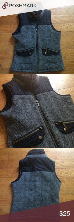 Mossimo gray and black vest size medium Mossimo gray and black vest size medium, looks pretty close to a similar one by J.Crew. EUC Mossimo Supply Co. Jackets & Coats Vests