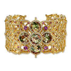 Zultanite, Diamond, and Pink Sapphire Cuff Bracelet by Erica Courtney