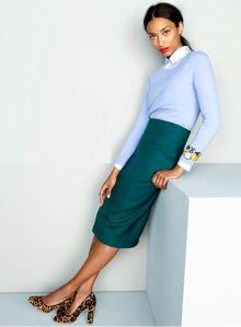*light blue sweater + white button up + teal skirt +   leopard pumps