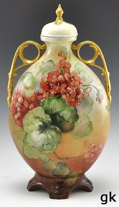 15.5in tall (top of finial) This is Limoge. Very Nice Large Antique Porcelain Vase with Lid Gilded Hand Painted Flowers Red