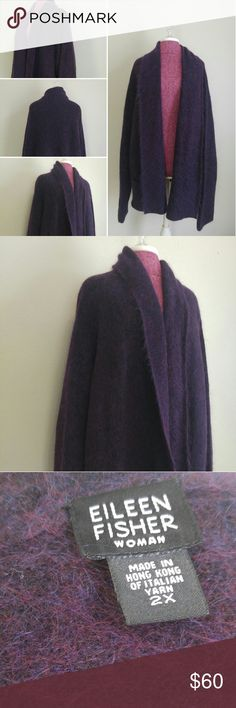 Eileen Fisher purple mohair & wool sweater Sz 2X Great used condition- without flaws Eileen Fisher Sweaters