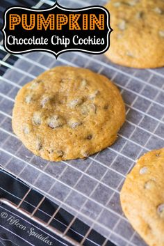 Fresh Pumpkin Chocolate Chip Cookies Recipe from @fifteenspatulas