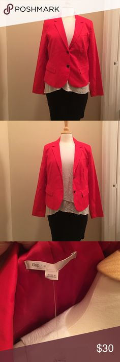 Red Gap Blazer Beautiful bright red blazer from Gap. Brand New with Tags. I wish I could keep it, unfortunately it just doesn't fit. GAP Jackets & Coats Blazers
