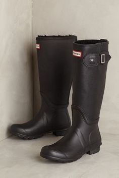Hunter Original Shearling Rain Boots Black Boots  #anthrofave #anthropologie