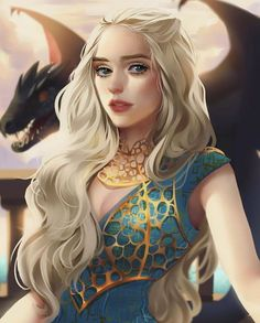 Mother of Dragons - Daenerys Targaryen from Game of Thrones, perfect digital artworks by artist and illustrator Mariana Souza Daenerys Targaryen Art, Khaleesi, Fantasy Magic, Fantasy Girl, Fantasy Dragon, Dragon Art, Game Of Trone, Game Of Thrones Art, Iron Throne