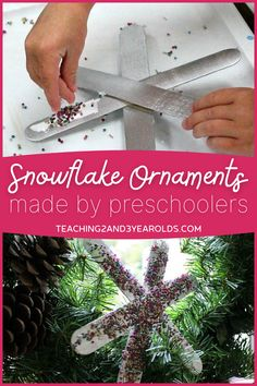 Snowflake ornaments for kids couldn't get any easier. With a few simple materials they can create some festive ornaments for their tree! #Christmas #winter #ornament #paint #beads #craft #art #preschool #kids #teaching2and3yearolds