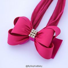 Hot Pink Bow Headband Pink Baby Headband Baby Big by BySophiaBaby