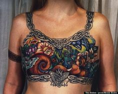 Really amazing color work went into this mastectomy tattoo. #InkedMagazine #BreastCancerAwareness #BreastCancer #tattoo #tattoos #inked #ink #art