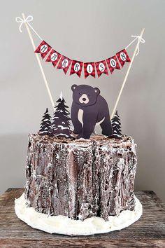 Baby Bear Lumberjack Birthday Cake | Lumberjack Party Ideas