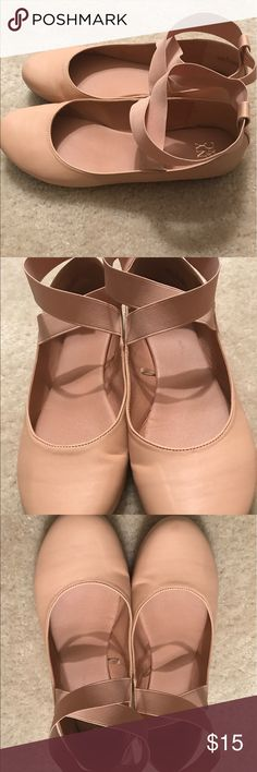 NYCO Ballet Flats Super cute Blush Flats from New York and Company!! Worn twice..... they are a little big for me. I am a 8 or 8 1/2. These are currently listed on the NYCO Website....great for this Spring /Summer season!! Super cute cross ankle strap!! Great with dresses, capris or leggings!!! New York & Company Shoes Flats & Loafers