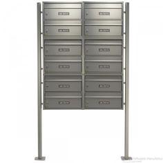 12er Edelstahl Briefkastenanlage senkrecht, freistehend mit Burg Wächter Briefkasten, liegend - Standelemente, massiv aus Aluminium-Profil, eloxiert
