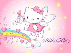 Hello Kitty....rainbow hearts and sweet music for my sweet Angel Vylette <3 <3 <3