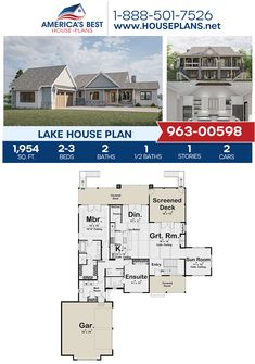 This stunning, Lake house plan offers 1,954 sq. ft., 2-3 bedrooms, 2.5 bathrooms, a fireplace, a sunroom, and a mudroom. See more about Plan 963-00598 on our website. #lakehouse Lake House Plans, Best House Plans, House Front, Front Porch, Screened In Deck, Floor Plan Drawing, Covered Decks, Open Layout, Build Your Dream Home