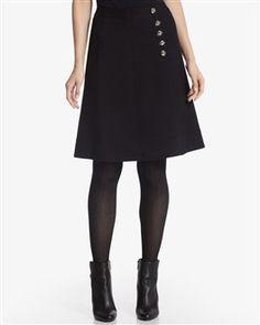White House Black Market, Ponte Button Skirt, $88
