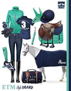 Our very own Style Board - MINT and NAVY - Equestrian Style, with the hottest Spring/Summer PANTONE colours of 2016. With Pikeur cooler, CWD 2G saddle, Samshield helmet in navy & Samshield gloves, HV Polo travel bag for your change of clothes, HV Polo sneakers and watch, Schockemoehle socks, jersey, fly bonnet, saddle-pad, lead rope and stirrups and Cavallo jean breeches and Tucci boots.