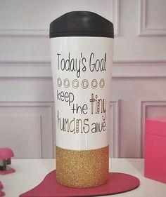Today's Goal Keep the Tiny Humans Alive Glitter Travel Mug