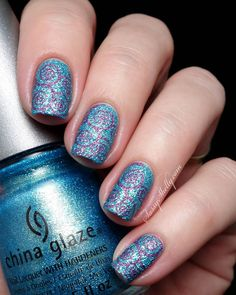 Digit-al Dozen DOES Texture ~ Swirly Stamping & OPI Glitter OFF review